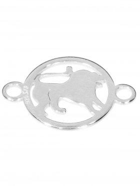 Löwe, Element mini (10 mm) mit 2 Ösen, 925 Silber