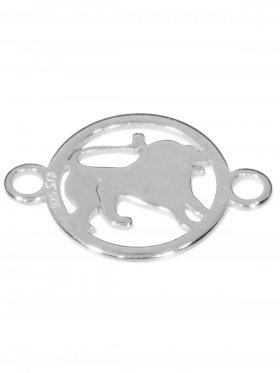 Löwe, Element mini (10 mm) mit 2 Ösen, 925 Silber rhodiniert