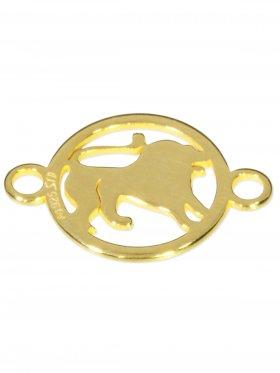 Löwe, Element mini (10 mm) mit 2 Ösen, 925 Silber vergoldet