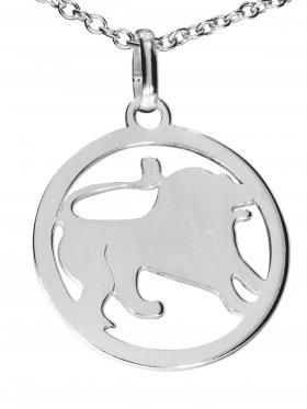 Löwe, Sternzeichen Anhänger small mit Öse, 925 Silber