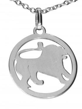 Löwe, Sternzeichen Anhänger small mit Öse, 925 Silber rhodiniert