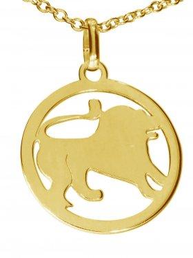 Löwe, Sternzeichen Anhänger small mit Öse, 925 Silber vergoldet
