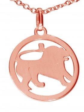 Löwe, Sternzeichen Anhänger small mit Öse, 925 Silber rosévergoldet