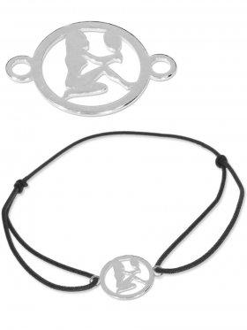 Symbolarmband Jungfrau mini (10 mm) auf Elastikband, schwarz, 925 Silber