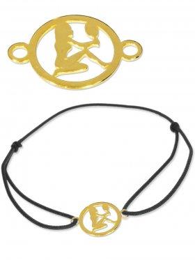 Symbolarmband Jungfrau mini (10 mm) auf Elastikband, schwarz, 925 Silber vergoldet