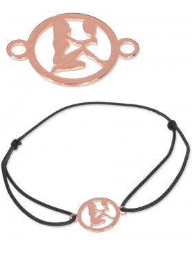 Symbolarmband Jungfrau mini (10 mm) auf Elastikband, schwarz, 925 Silber rosévergoldet