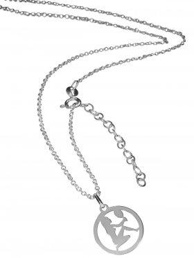 Jungfrau (small ø 15 mm) -  Ankerkette mit Verlängerungskette, Länge 38+5 cm, 925 Silber rhodiniert