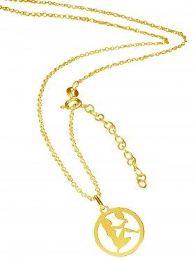 Jungfrau (small ø 15 mm) -  Ankerkette mit Verlängerungskette, Länge 38+5 cm, 925 Silber vergoldet