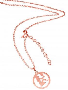 Jungfrau (small ø 15 mm) -  Ankerkette mit Verlängerungskette, Länge 38+5 cm, 925 Silber rosévergoldet