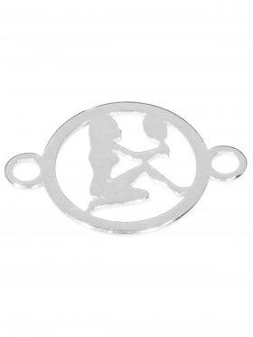 Jungfrau, Element mini (10 mm) mit 2 Ösen, 925 Silber