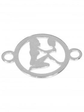 Jungfrau, Element mini (10 mm) mit 2 Ösen, 925 Silber rhodiniert