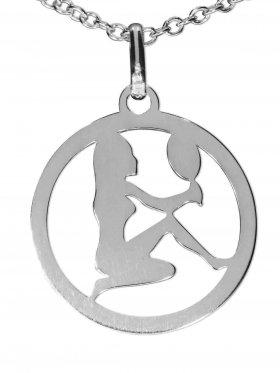 Jungfrau, Sternzeichen Anhänger small mit Öse, 925 Silber rhodiniert