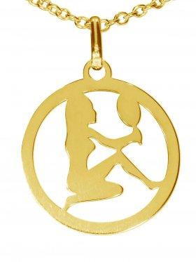 Jungfrau, Sternzeichen Anhänger small mit Öse, 925 Silber vergoldet