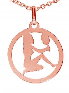Jungfrau, Sternzeichen Anhänger small mit Öse, 925 Silber rosévergoldet