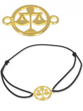 Symbolarmband Waage mini (10 mm) auf Elastikband, schwarz, 925 Silber vergoldet