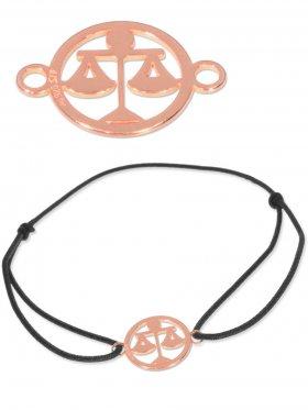Symbolarmband Waage mini (10 mm) auf Elastikband, schwarz, 925 Silber rosévergoldet