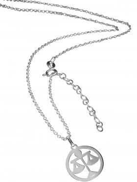 Waage (small ø 15 mm) -  Ankerkette mit Verlängerungskette, Länge 38+5 cm, 925 Silber rhodiniert