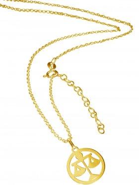 Waage (small ø 15 mm) -  Ankerkette mit Verlängerungskette, Länge 38+5 cm, 925 Silber vergoldet