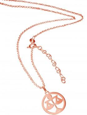 Waage (small ø 15 mm) -  Ankerkette mit Verlängerungskette, Länge 38+5 cm, 925 Silber rosévergoldet