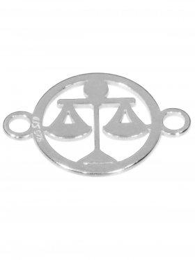Waage, Element mini (10 mm) mit 2 Ösen, 925 Silber rhodiniert