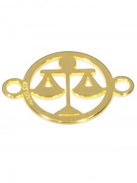 Waage, Element mini (10 mm) mit 2 Ösen, 925 Silber vergoldet