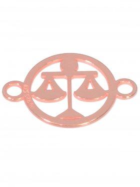 Waage, Element mini (10 mm) mit 2 Ösen, 925 Silber rosévergoldet