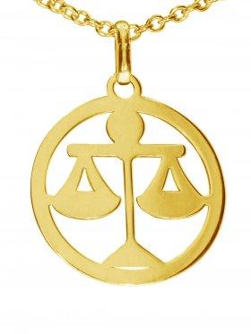 Waage, Sternzeichen Anhänger small mit Öse, 925 Silber vergoldet