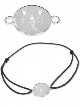 Symbolarmband Skorpion mini (10 mm) auf Elastikband, schwarz, 925 Silber