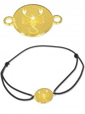 Symbolarmband Skorpion mini (10 mm) auf Elastikband, schwarz, 925 Silber vergoldet