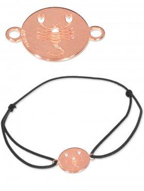 Symbolarmband Skorpion mini (10 mm) auf Elastikband, schwarz, 925 Silber rosévergoldet