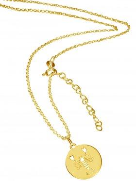 Skorpion (small ø 15 mm) -  Ankerkette mit Verlängerungskette, Länge 38+5 cm, 925 Silber vergoldet