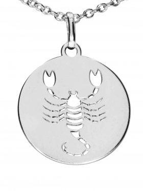 Skorpion, Sternzeichen Anhänger small mit Öse, 925 Silber