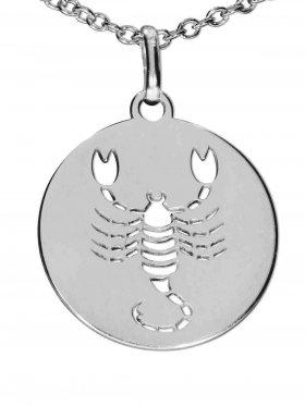 Skorpion, Sternzeichen Anhänger small mit Öse, 925 Silber rhodiniert