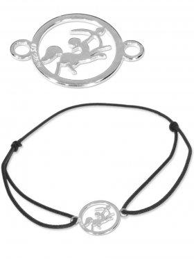 Symbolarmband Schütze mini (10 mm) auf Elastikband, schwarz, 925 Silber