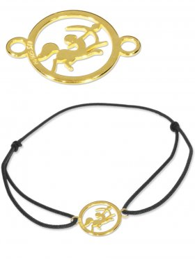 Symbolarmband Schütze mini (10 mm) auf Elastikband, schwarz, 925 Silber vergoldet