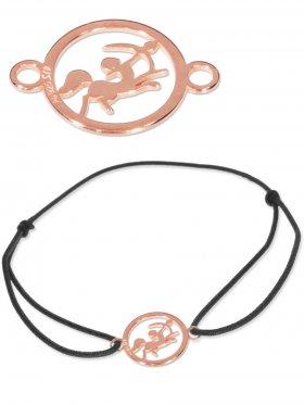 Symbolarmband Schütze mini (10 mm) auf Elastikband, schwarz, 925 Silber rosévergoldet