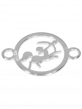 Schütze, Element mini (10 mm) mit 2 Ösen, 925 Silber rhodiniert
