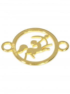 Schütze, Element mini (10 mm) mit 2 Ösen, 925 Silber vergoldet