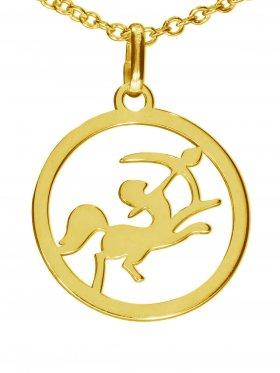 Schütze, Sternzeichen Anhänger small mit Öse, 925 Silber vergoldet