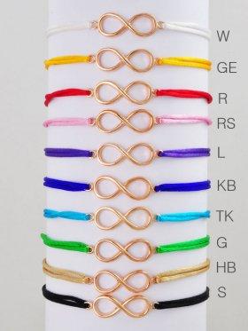Symbolarmband Baumwollband mit Unendlichkeit Symbol, verschiedene Farben