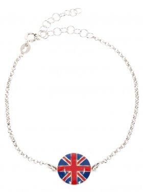 Silberarmband mit emaillierter Landesflagge auf einem Silberplättchen