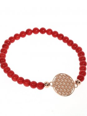 Symbolarmband mit Blume des Lebens Modell 1, 925 roséverg., Koralle