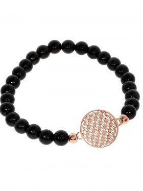 Symbolarmband mit Blume des Lebens Modell 1, 925 roséverg., Onyx