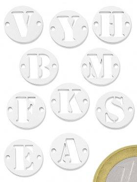 """Buchstabe """"X"""", Element beidseitig gebohrt, 925 Silber"""