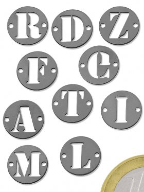 Buchstaben, Element beidseitig gebohrt, 925 SIlber