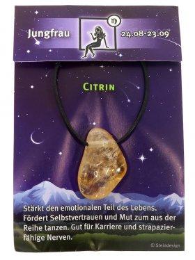 Sternstein Jungfrau, Citrin gebohrt mit Lederband