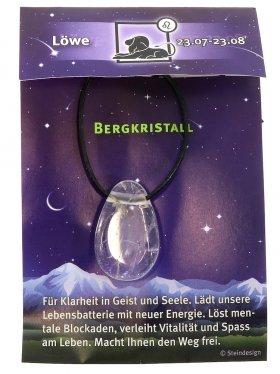 Sternstein Löwe, Bergkristall gebohrt mit Lederband