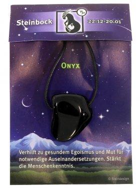 Sternstein Steinbock, Onyx gebohrt mit Lederband
