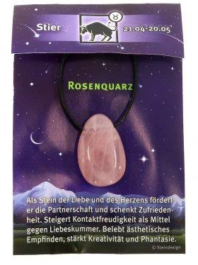 Sternstein Stier, Rosenquarz gebohrt mit Lederband