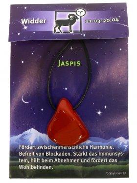 Sternstein Widder, Jaspis rot gebohrt mit Lederband